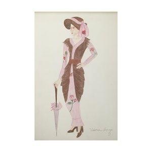 Original Drawing of 1910-1920s Fashion circa 1973